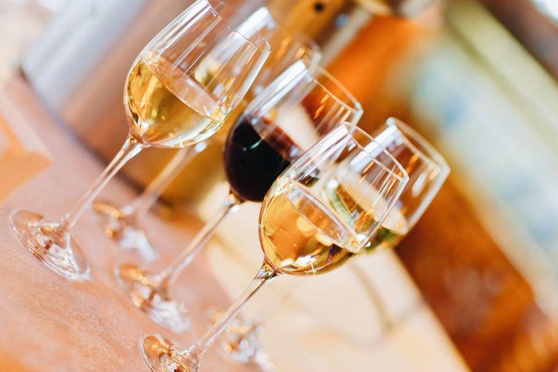 Tilt shot of wineglasses on table