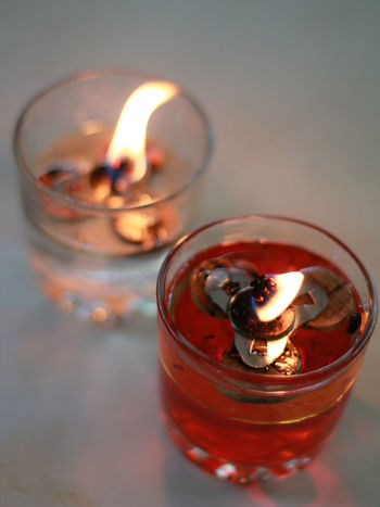 Candlelight Red And White Fire Drinking Glass Red Close-up Food And Drink