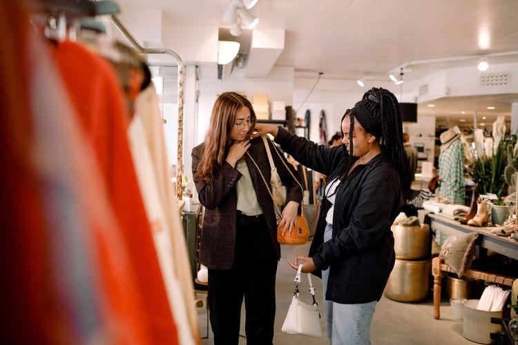 Women standing at store