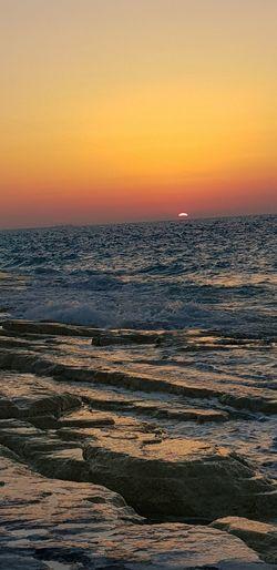 North coast, Alexandria, Egypt Wave Water Sea Sunset Beach View Into Land Horizon Multi Colored Awe Beauty