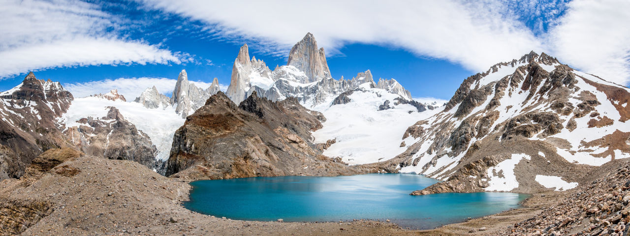 The Fitz Roy mountain range near El Chalten, Argentina in Patagonia Panoramic Nature Cloud - Sky Snowcapped Mountain Wilderness Landscape Argentina Photography Argentina Mountain View Mountain Peak Mountain And Clouds Mountain And Sky Mountain Range Mountains Mount Fitz Roy Fitz Roy Mountain Fitzroy Fitz Roy El Chalten Patagonian Andes Patagonia Argentina Patagonia Water Sky Mountain