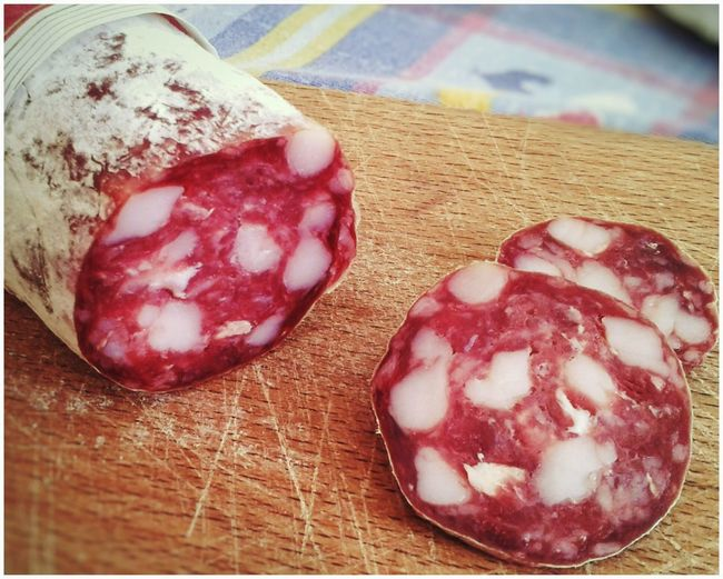 Salame di Sant'Olcese. Italian Salumi Salame S3 Mini Android Photography Smartphone Photography Food Food And Drink No People Indoors  Table Freshness Close-up Ready-to-eat