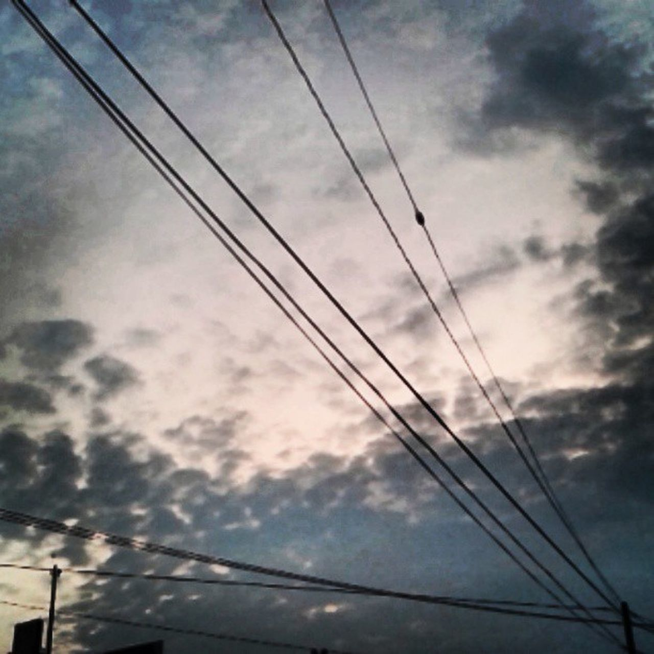 cable, sky, low angle view, power line, no people, power supply, connection, electricity, cloud - sky, electricity pylon, outdoors, silhouette, day, nature, telephone line