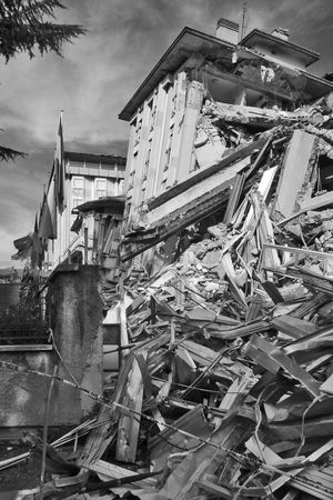 Hotel collapsed with the earthquake of L'Aquila Abruzzo L'Aquila Rubble Wall Architecture Black And White Blackandwhite Building Exterior Built Structure Collapsed Collapsed Building Day Earthquake Earthquake In Italy Earthquake L'aquila Hotel Italy No People Outdoors Rubble Sky