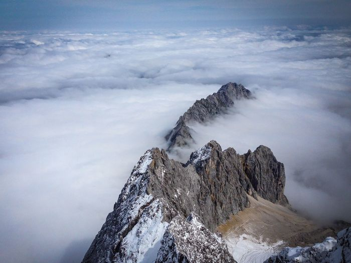 Aerial view of zugspitze mountain amidst cloudy sky