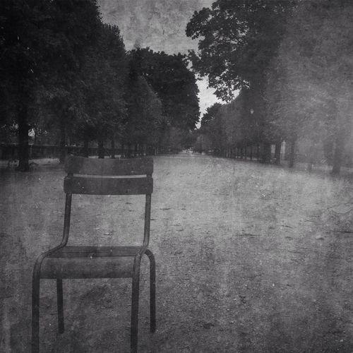Une chaise dans les jardins de Paris IPhoneography NEM Black&white