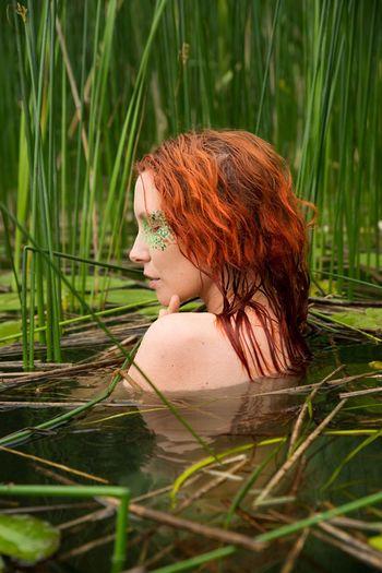 Nymph. Nymph Siren Portrait Of A Woman Portrait Portrait Photography Redhead Nikonphotography Nikond600 Tamron2470 Lake Waterlilies Eyemphotography