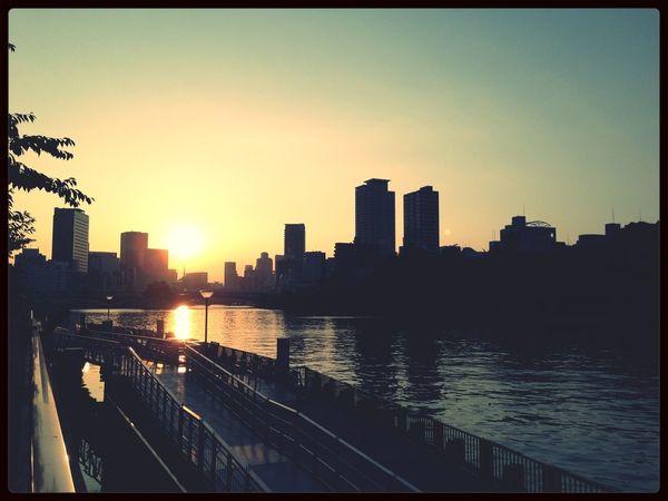 水上バスの調査で天満橋。夕日がきれい。涼しい風が吹いてなんともいい感じ^_^