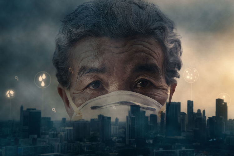 Old woman wearing a mask fear problem air pollution in the city, protect environment concept. Fear Woman Mask Protection Wearing Air Problem Face Health Environment Pollution City Smoke Urban Fog Danger Humanity Meets Technology