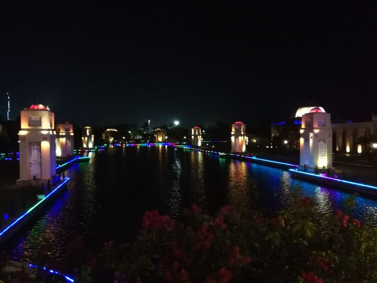 Night City Cityscape Urban Skyline Illuminated Skyscraper Water Modern Nightlife City Life Reflection