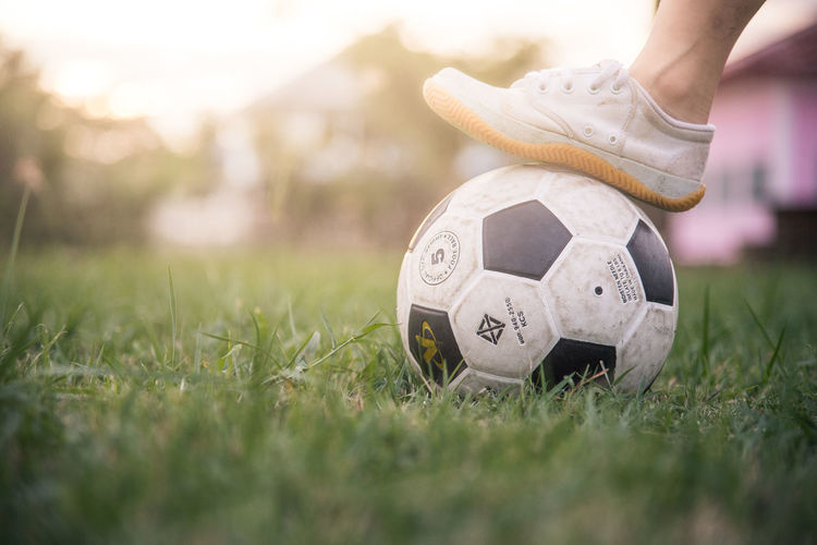 Low section of person with ball on grass