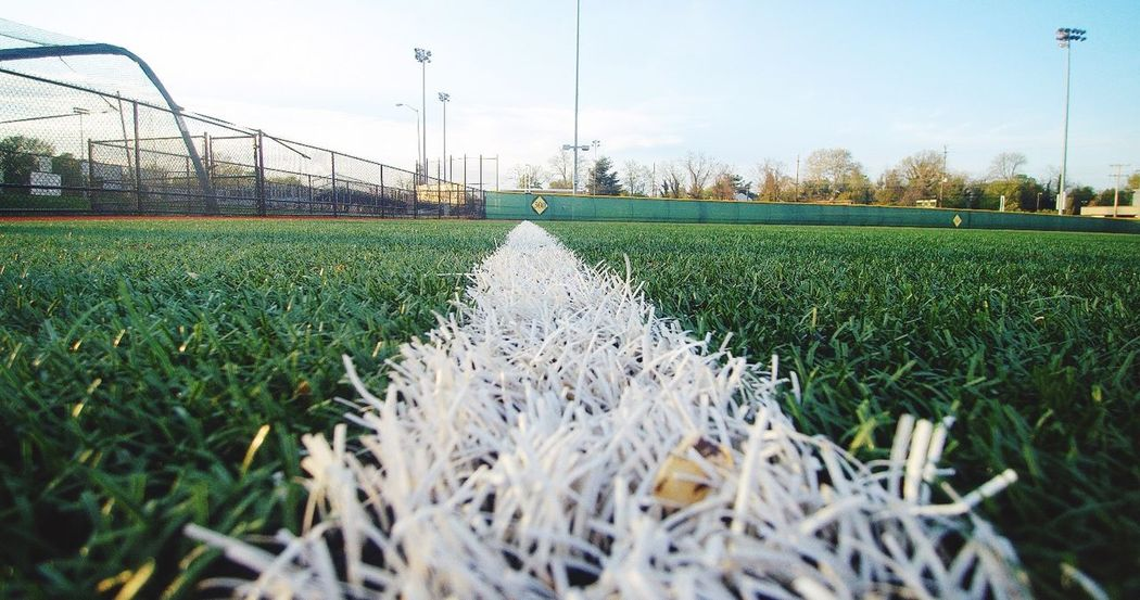 Grass Green Color Field No People Day Outdoors Soccer Field Baseball Foul Line White Line Park EyeEmNewHere Artificial Turf