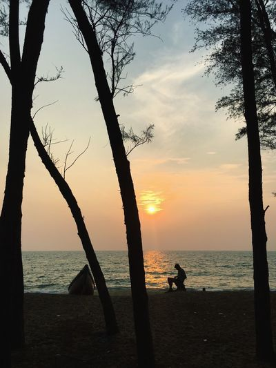 India IPhoneography Sunset Sea Water Silhouette Nature Beauty In Nature Scenics Beach Tree Sky Tranquil Scene Tranquility Horizon Over Water Outdoors Real People One Person Tree Trunk Inner Power