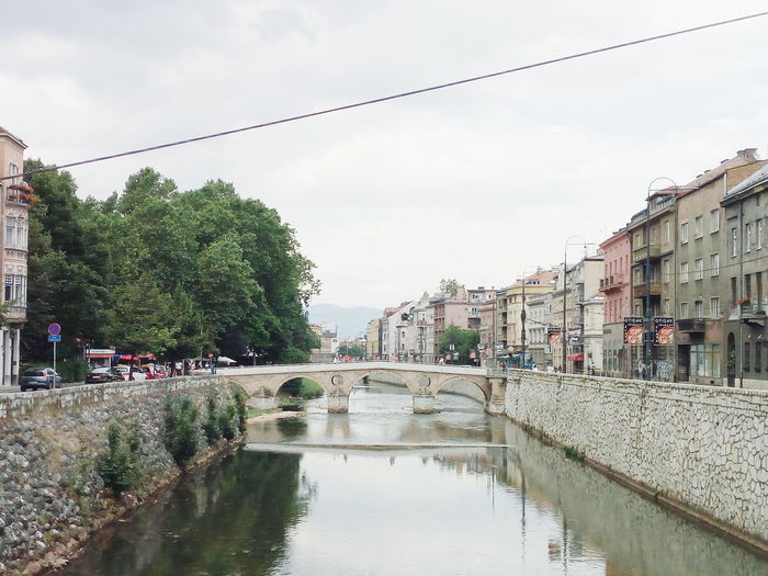 Sarajevo River Bridge City Water Tree Reflection Sky Building Exterior Architecture Cloud - Sky Old Town Townhouse TOWNSCAPE