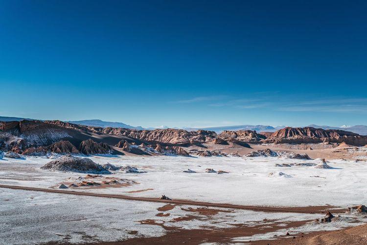 Atacama desert against blue sky