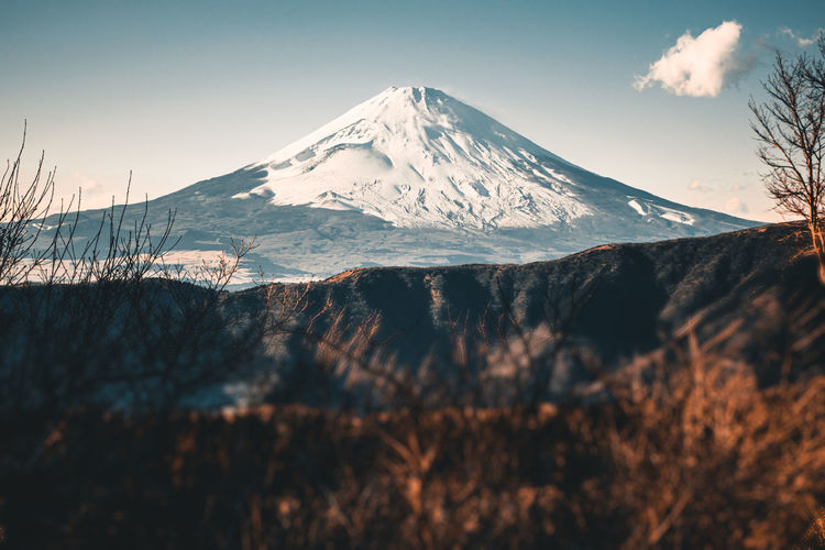 Beautiful fuji mountain with snow covered on the top in the winter season in japan.