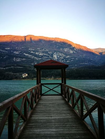 Nature Nature No People Beauty In Nature Lake View Bridge - Man Made Structure Mountain Railing Sky Footbridge Outdoors Day Elevated Walkway