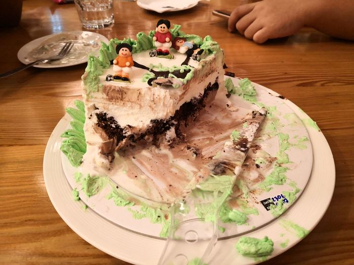 Midsection of cake slice in plate on table