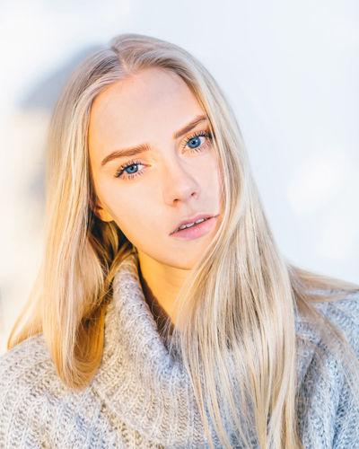 Beautiful Beauty Blonde Blue Blue Eyes Casual Clothing Cozy Eye Front View Girl Headshot Lifestyles Model Portrait The Portraitist - 2016 EyeEm Awards White