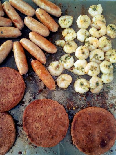 Aussie Life Australia Australian Lifestyle Day Delicious Food Food Food And Drink Freshness Grill Grilled Grilled Meat Grilling Healthy Eating Large Group Of Objects No People Outdoors Prawns Prepared Potato Ready-to-eat Sausages Tasty