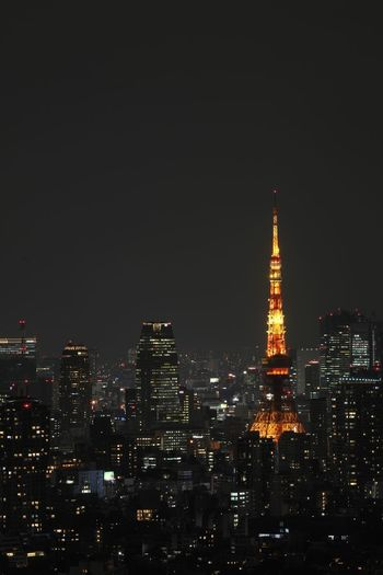 Building Exterior Architecture Night Built Structure Illuminated City Cityscape Tall - High Building Tower Sky Skyscraper Office Building Exterior No People Travel Destinations Modern Copy Space Outdoors Spire  Financial District  Tokyo Tokyo Tower Tokyo Street Photography