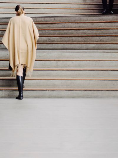 Selective Focus Fashion Urban Geometry Cityscape Geometric Shape Lines And Shapes One Person Rear View Full Length Adult Architecture Women Clothing Standing Real People Casual Clothing Day Staircase Walking Young Adult Lifestyles Wall - Building Feature City Young Women Leisure Activity Overcoat #urbanana: The Urban Playground Autumn Mood The Art Of Street Photography