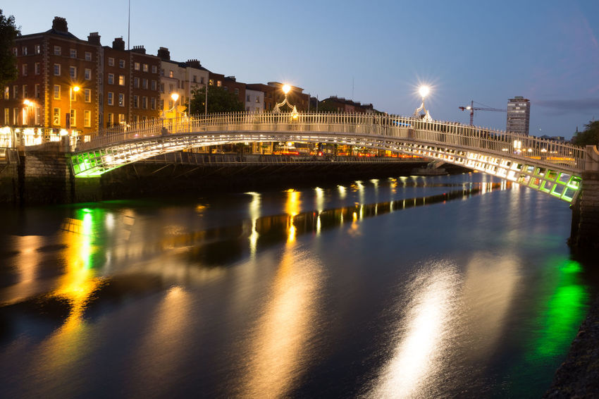Ha'Penny Bridge Blue Hour Dublin Ha'PennyBridge Architecture Bridge - Man Made Structure Building Exterior Built Structure City Ha'penny Bridge Illuminated Liffey Liffeyriver Night Water