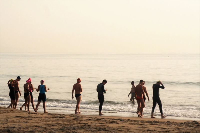 Swimmers Walking At Beach Against Clear Sky