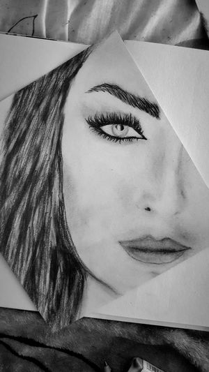 Real People Beautiful Woman Portrait Human Face One Woman Only Drawing My Drawing Girl Sketch Nice Art Nice Picture 😉👌 Black And White