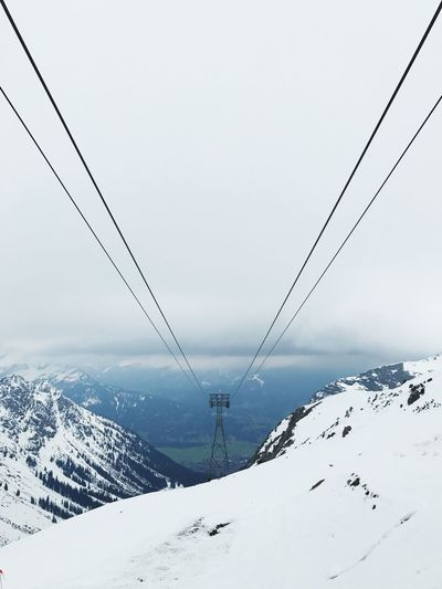 Snow Winter Cold Temperature Cable Weather Connection Mountain Nature Overhead Cable Car No People Outdoors Ski Lift Snowcapped Mountain Scenics Beauty In Nature Day Sky Landscape Clear Sky Nebelhorn The Great Outdoors - 2017 EyeEm Awards Let's Go. Together. EyeEm Selects