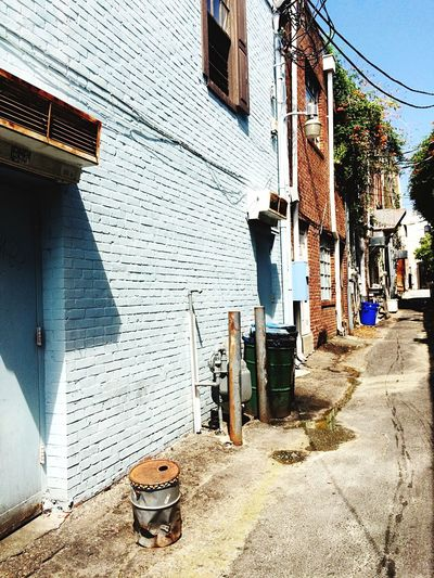 Intetesting Bright Alley Old Buildings Blue Brick Wall Blue Brick Wall European  Colorful