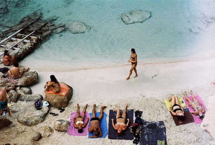 Analog Beach Fall Formentera High Angle View Kodakgold Real People Topless,