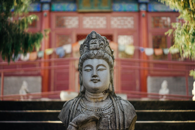 A statue at a temple.