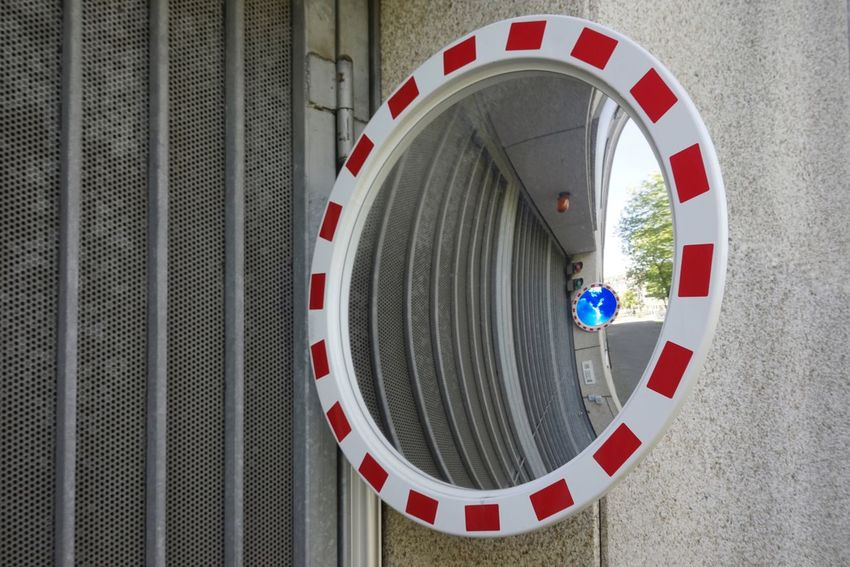 Security Traffic Mirror Circle Architecture Geometric Shape Shape Protection Built Structure No People Security Safety Transportation Close-up Entrance