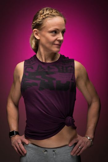 Purple power. In Full Bloom Adult Woman Adult Mature Mature Woman Studio Lighting Strongwoman PENTAX K-1 Exceptional Photographs Light And Shadow Healthy Training Purple Studio Fitness Studio Shot Portrait Colored Background Blond Hair One Person Pink Color Adult Indoors  One Woman Only