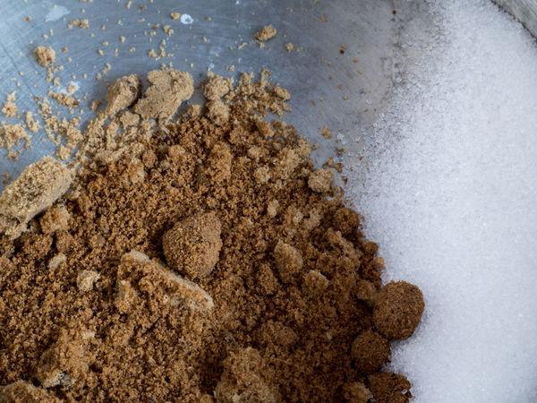 Sugar and brown sugar. Cooking Dessert Food And Drink Sugar Brown Close-up Day Food Freshness Glucose Heap Ingredient No People Sweet Sweet Food