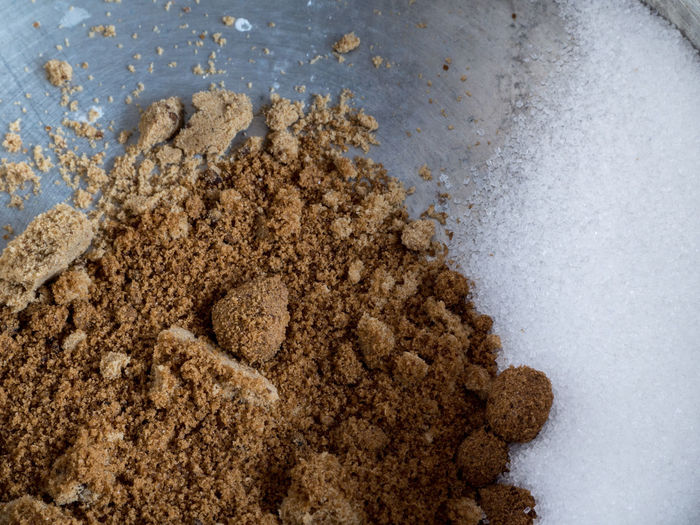 Sugar and brown sugar. Cooking Dessert Food And Drink Sugar Brown Close-up Day Food Freshness Glucose Heap Ingredient No People Sweet Sweet Food