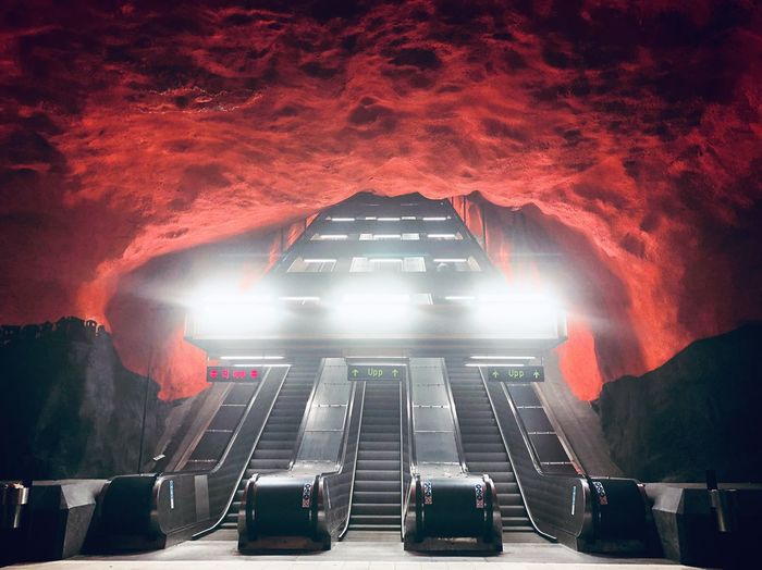 Metro Art in Stockholm Sweden Stockholm Metro Art Architecture Built Structure No People Transportation Night Outdoors City Adventures In The City