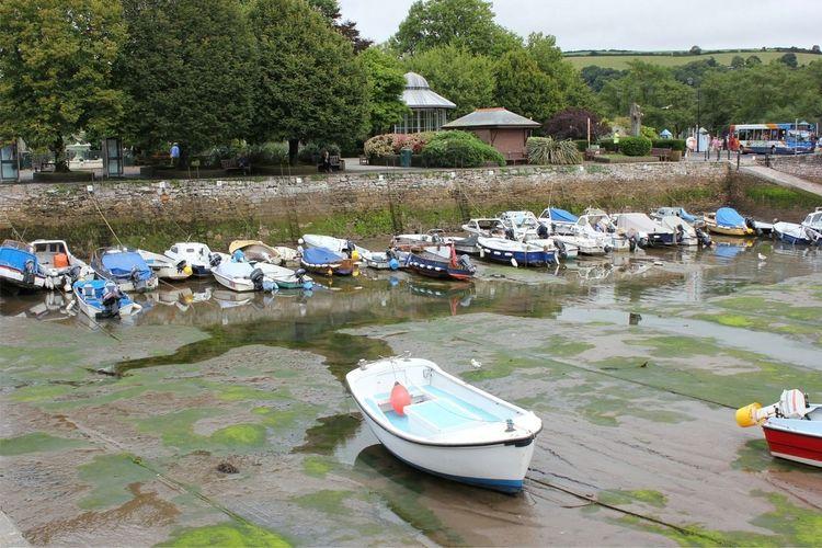 moored boats at