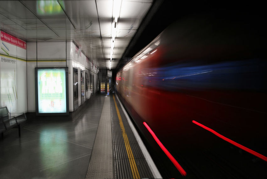 Absence Arts Culture And Entertainment Blurred Motion Composition Underground Illuminated Indoors  Journey London Mode Of Transport Motion Narrow On The Move Part Of Perspective Public Transportation Speed Subway Station The Way Forward Transportation Travel Tube Vehicle Interior The Tourist