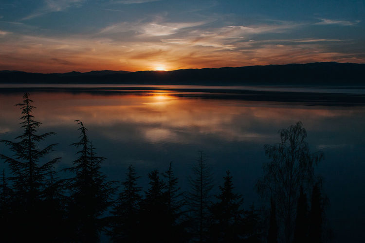 Ohrid lake in sunset Tranquility Sky Scenics - Nature Beauty In Nature Tranquil Scene Water Cloud - Sky Lake Sunset Reflection Nature Non-urban Scene Outdoors Macedonia
