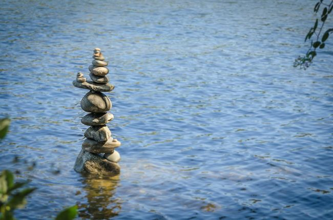 """""""Zen on the Riverbank"""" Abstract Rockstacking Rocks Stacking Rocks River Riverbank Zen Water"""