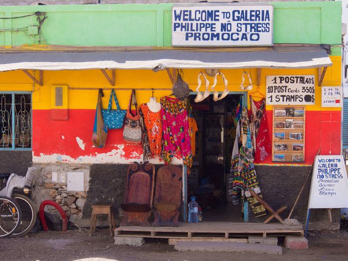 Souvenir shop in Santa Maria, Sal Island, Cabo Verde Multi Colored Art And Craft Small Business Market Store Textile