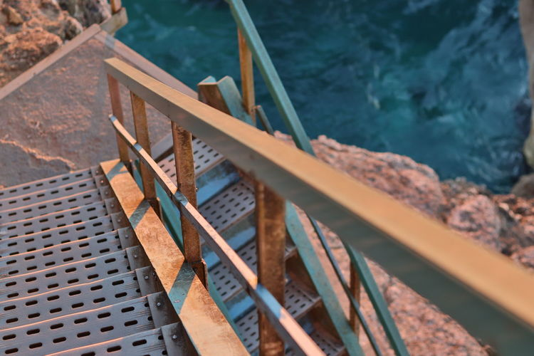 High angle view of pier by sea