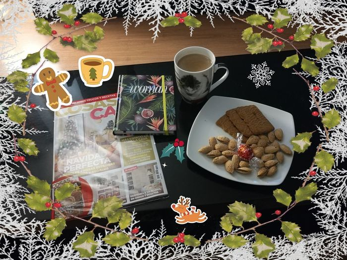 Xmas is just around the corner 🎄❄️❤️ Xmas Time, Natale, Inverno, Winter Mood, Writing Diary Reflection Magazine Reading Cozy At Home Blanket Merry Flower Tree Drink Fruit High Angle View Table Close-up Sweet Food Gingerbread Cookie Latte Wrapped In A Blanket First Eyeem Photo