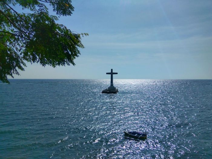 Sea Water Day Nature Horizon Over Water Sky Beauty In Nature Outdoors No People Phone Photography Eyeem Philippines Cross Cemetery Sunken Cemetery Travel Destinations