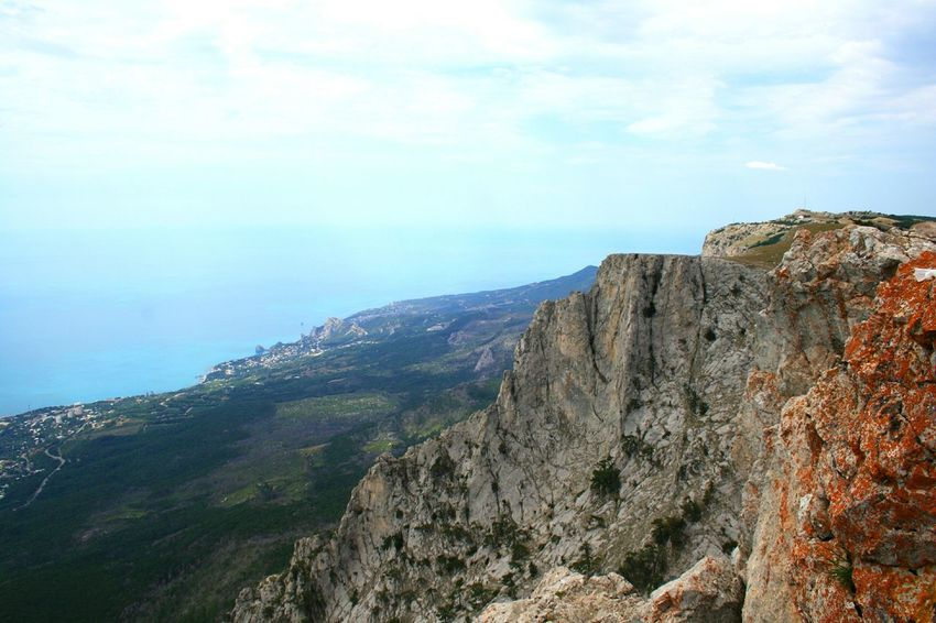 From the top of the Ai-Petri mt. Black Sea Crimea Sea Water Mountain Tree Sky Rock Formation Rocky Mountains Rocky Coastline Rock - Object Natural Landmark Physical Geography Pine Woodland Eroded Shore Coast Cliff Rock