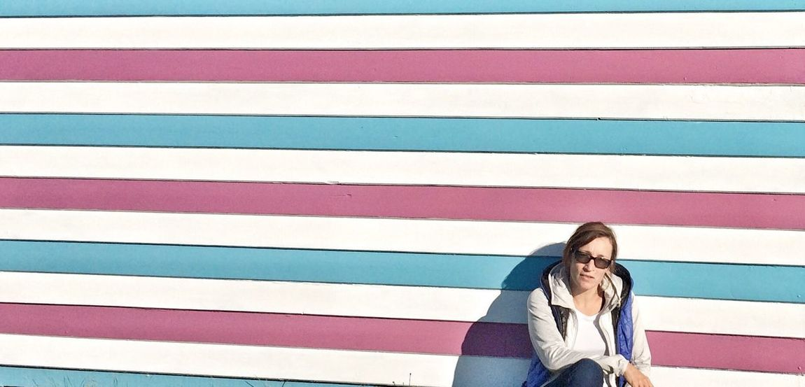 Stripes EyeEm Best Shots EyeEm Gallery Beach Hut Beach Cabin Striped One Person Real People Day Lifestyles Pattern Wall - Building Feature Sunlight Outdoors