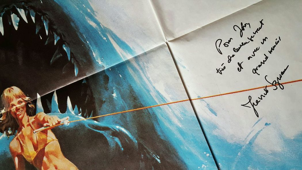 Lieblingsteil a French Jaws II movie poster, signed by Director; Jeannot Szwarc. MOVIE Memorabilia Arts Culture And Entertainment Close-up Low Angle View Day Eyeemphoto