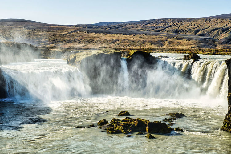 Rugged waterfall goðafoss in beautiful fall colors with great detail
